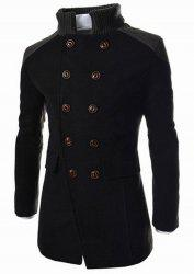 Slimming Stand Collar Inclined Top Fly Color Spliced Flap Pocket Men's Long Sleeves Peacoat - BLACK