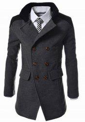Slimming Stand Collar Inclined Top Fly Color Spliced Flap Pocket Men's Long Sleeves Peacoat - GRAY