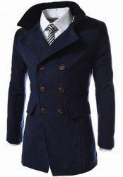 Slimming Stand Collar Inclined Top Fly Color Spliced Flap Pocket Men's Long Sleeves Peacoat - CADETBLUE