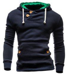 IZZUMI Slimming Hooded Single-Breasted Front Pocket Applique Design Men's Long Sleeves Hoodie - CADETBLUE