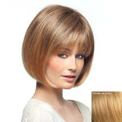 Real Human Hair Short Natural Straight Charming Full Bang Capless Women's Bob Haircut Wig -