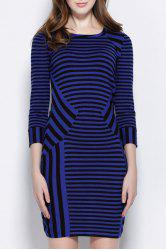 Stylish Scoop Collar 3/4 Sleeve Striped Slimming Women's Dress -
