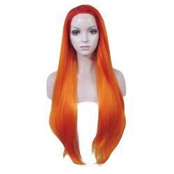 Trendy Mixed Color Natural Straight Heat Resistant Fiber Long No Bang Lace Front Wig For Women