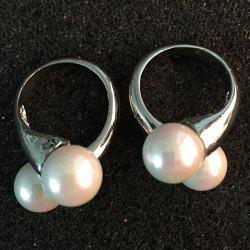 Pair of Stylish Crossover Faux Pearl Earrings For Women -