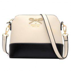 Elegant Bow and PU Leather Design Women's Crossbody Bag - OFF-WHITE