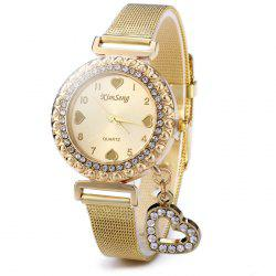 KimSeng Heart-shaped Pendant Golden Body Female Diamond Quartz Watch with Steel Net Band