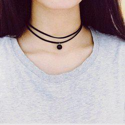 Vintage Double Layered Bead Choker Necklace - BLACK
