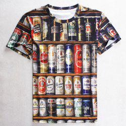 Round Neck 3D Beer Print Slimming Short Sleeve Men's T-Shirt - COLORMIX