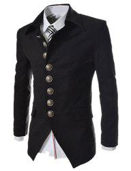 Modish Slimming Turndown Collar Single Breasted Long Sleeve Cotton Blend Blazer For Men - BLACK