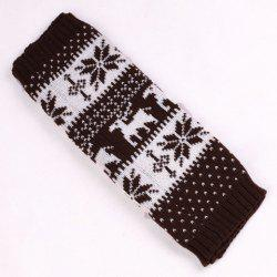 Pair of Chic Snowflake and Deer Pattern Knitted Leg Warmers For Women - COFFEE