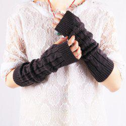 Pair of Chic Solid Color Hemp Flower Knitted Fingerless Gloves For Women