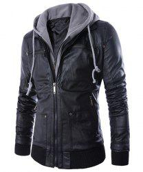 Hooded Faux Twinset Rib PU Leather Jacket - BLACK