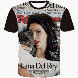 Round Neck 3D Girl Magazine Print Slimming Short Sleeve Men's T-Shirt -