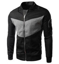 Modish Fitted Stand Collar Color Block Splicing Zipper Design Long Sleeve Polyester Jacket For Men