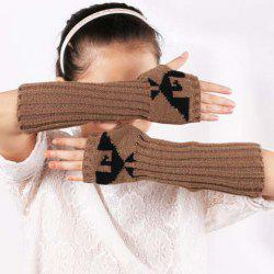 Pair of Chic Bird Pattern Striped Knitted Fingerless Gloves For Women -