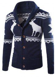 Modish Slimming Turndown Collar Christmas Snowflake Fawn Jacquard Long Sleeve Cotton Blend Cardigan For Men - CADETBLUE