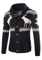 Modish Slimming Turndown Collar Christmas Snowflake Fawn Jacquard Long Sleeve Cotton Blend Cardigan For Men - BLACK