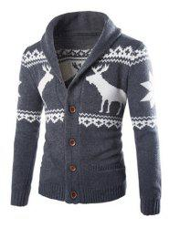 Christmas Snowflake Fawn Jacquard Button Up Cardigan