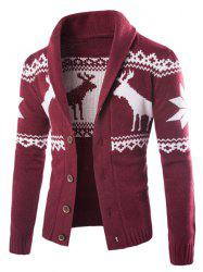 Modish Slimming Turndown Collar Christmas Snowflake Fawn Jacquard Long Sleeve Cotton Blend Cardigan For Men - WINE RED