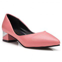 Concise Solid Colour and PU Leather Design Women's Pumps - PINK