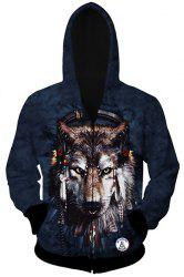 Trendy Slimming Hooded 3D Wolf Head Pattern Long Sleeve Cotton Blend Wolf Hoodie For Men - AS THE PICTURE M