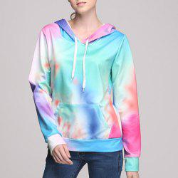 Stylish Hooded Long Sleeve Colored Pocket Design Women's Hoodie -