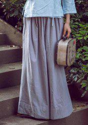Vintage Loose-Fitting Solid Color Wide Leg Pants For Women - GRAY L