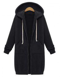 Casual Style Hooded Long Sleeve Solid Color Zip Design Women's Hoodie -