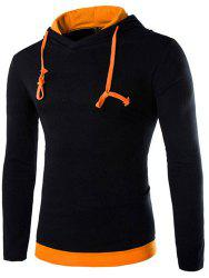 Trendy Slimming Hooded Simple Color Splicing Long Sleeve Cotton Blend Hoodie For Men - BLACK AND ORANGE