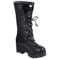 Stylish Ruched and Lace-Up Design Women's Mid-Calf Boots
