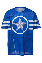 Fashion Round Neck Slimming Color Block Captain America Print Short Sleeve Polyester T-Shirt For Men - BLUE