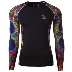 3D Abstract Printed Long Sleeves Suture Stripes Round Neck Men's Sweat Dry Tight T-Shirt -