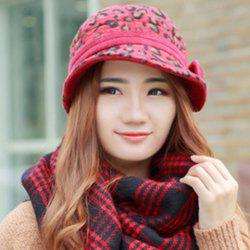 Chic Bow Embellished Leopard Pattern Felt Bucket Hat For Women