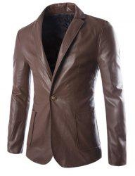 One Button Single-Breasted Stereo Patch Pocket Side Slit Lapel Long Sleeves Men's PU Leather Coat - COFFEE