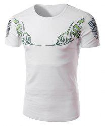 Color Block Abstract Totem Print Slimming Round Neck Short Sleeves Men's Fashion T-Shirt -