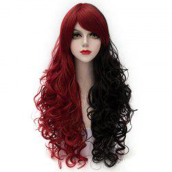 Fluffy Curly Side Bang Red Splicing Black Capless Charming Fashion Long Synthetic Cosplay Wig For Women