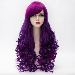 Charming Inclined Bang Long Purple Highlight Capless Fluffy Curly Synthetic Cosplay Wig For Women -