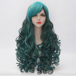 Stunning Long Side Bang Fluffy Curly Heat Resistant Synthetic Highlight Capless Women's Cosplay Wig