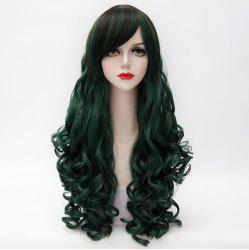 Shaggy Curly Long Capless Side Bang Trendy Black Mixed Blackish Green Synthetic Cosplay Wig For Women