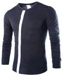 Modern Style Slimming Round Neck Color Block Stripes Spliced Men's Long Sleeves T-Shirt -