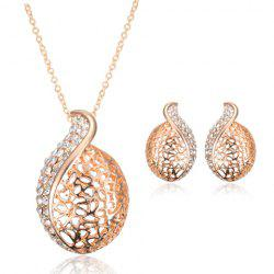 A Suit of Graceful Rhinestone Hollow Out Necklace and Earrings For Women - GOLDEN