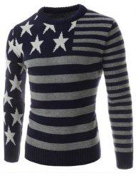 Classic Color Block Five-Pointed Star Intarsia Round Neck Long Sleeves Slim Fit Men's Striped Sweater -