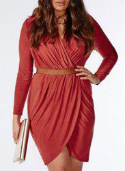 Stylish V-Neck Long Sleeve Solid Color Wrap Dress For Women