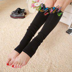 Pair of Chic Tridimensional Butterfly Embellished Foot Step Leg Warmers For Women - BLACK