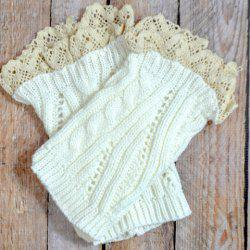 Pair of Chic Lace Edge Solid Color Hollow Out Knitted Boot Cuffs For Women -