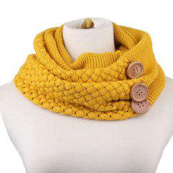 Chic Big Loop  Infinity Buttons Embellished Knitted Turtleneck Warmer Scarf -