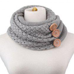 Chic Big Loop Buttons Embellished Knitted Turtleneck Warmer Scarf
