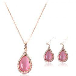 A Suit of Waterdrop Faux Opal Rhinestone Necklace and Earrings -