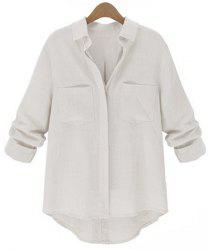 Chic Pure Color Long Sleeve Loose Shirt For Women -