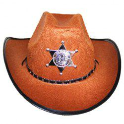 Stylish Five-Pointed Star Shape Badge and Belt Embellished Costume Hat For Men